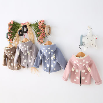 Spring Girl Children Outerwear Rabbit Kids Wear Girls Casual Hoodies Cotton Baby Wear Sweatshirts Girls & Boy Zipper Kids Jacket