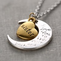 To The Moon & Back Necklace - Sister