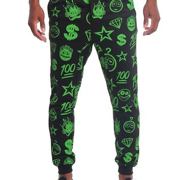 Solid Emoji Print French Terry Jogger Pants JG723 - E19B