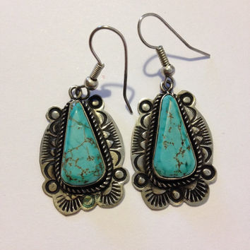 Fred Harvey Era Royston Turquoise Sterling Earrings Navajo Virginia Tso Silver 925 Vintage Southwestern Jewelry Birthday Mother's Gift