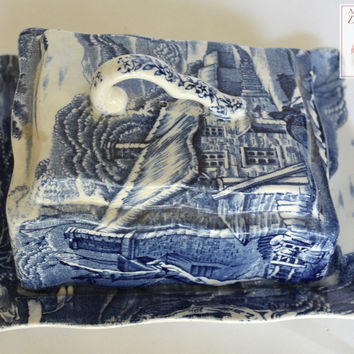 English Blue Transferware Covered Cheese Keeper Butter Dish Pastoral Horse and Bridge Scene