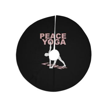 "BarmalisiRTB ""Peace Yoga Love"" Pink White Illustration Christmas Tree Skirt"