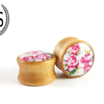 18mm, 11/16, Wooden Ear Plugs, Girly Rose Floral flower Design Ear Gauge, Feminine cute plugs, pink, Sold as a PAIR, P+S