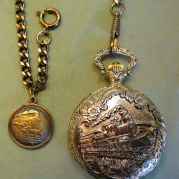 CARIOLE Antimagnetic Pocket Watch w/Chain, Railroad & Train Design