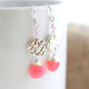 Chalcedony Dangle Earrings, Pink Chalcedony Earrings, Pink and Silver Earrings, Pink Earrings