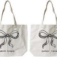Women's Cute Eco-friendly Best Friend Matching Natural Canvas Tote Bag