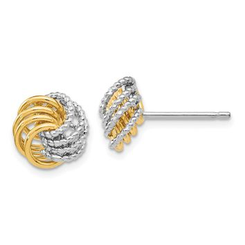 11mm (7/16 in) 14k Two-Tone Gold Polished Textured Love Knot Earrings