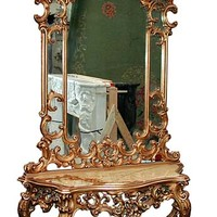 54.5136 Beautiful 19th C. Mirrored Console with White Marble Top