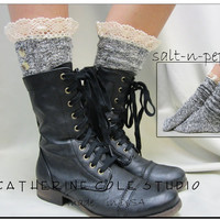 Nordic Lace short boot  socks salt n pepper tweed for combat or cowboy boot socks by Catherine Cole Studio ruffled lace SLX1BL Made  in usa