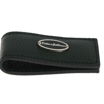 Dolce & Gabbana Green Leather Magnet Money Clip