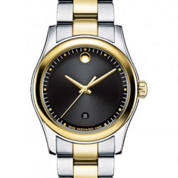 Movado Sportivo Ladies Stainless Steel Black Museum Dial Minute Track Date Display 28mm Two Tone Watch  0606484