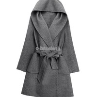 Gray Cashmere Wool Loose Hooded Coat