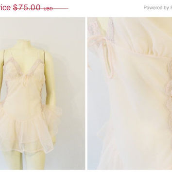 SALE Vintage Teddy Lingerie Undercover Wear Ballet Pink Chiffon & Lace Skirted Onsie Romper Made in USA RARE Size Medium Fits M - L