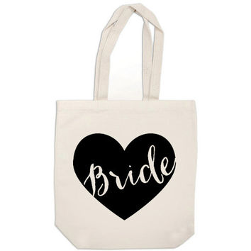bride gift canvas tote bag heart bride bag - wedding calligraphy bride tote bag purse