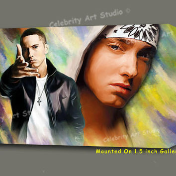 Eminem Rapper Canvas Giclee, Acrylic Art W Gallery Wrap Ready To Hang Up To Size 42X30X1.5""