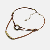 The Rising Sun Knotted Leather Choker - Brown