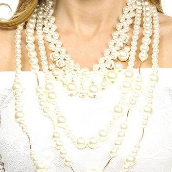 Mixed beaded faux pearl necklace set
