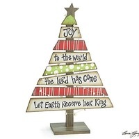 Joy To The World Decorative Wood Christmas Tree with Scripture