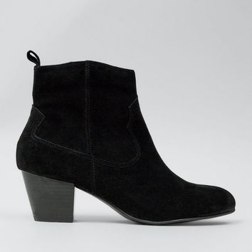 Black Suede Western Ankle Boots | New Look