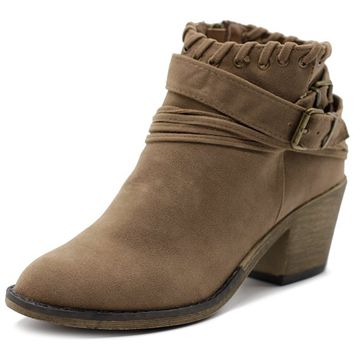 Women Shoe Faux Suede Buckled Zip Up Stacked Heel Ankle Boots