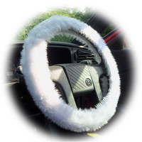 White fluffy furry fuzzy cute car steering wheel cover
