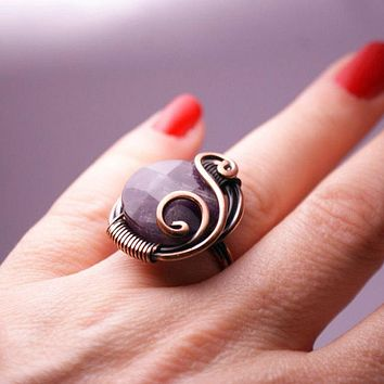 Handmade Wire Wrapped Amethyst Ring Boho Jewelry