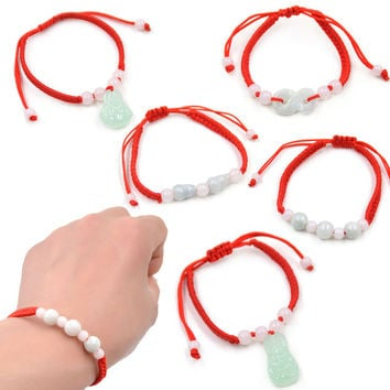 1 piece Chinese Style Artificial Jade Pendant Beaded Red String Bracelet Feng Shui Good Luck Jewelry