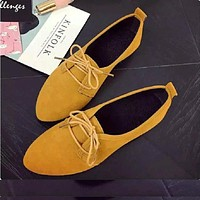 QICIUS Leather Oxford Shoes For Women Pointed Toe Casual Nurse Shoes Flat With Leather Women Loafers Lace-up B0034