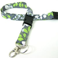 Fabric Lanyard - ID Badge and Key Ring in Grey Green and White Moda Fabric with Breakaway and Detachable Side Release Key Ring