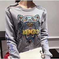 KENZO Fashion Zipper Embroidery Long Sleeve Top Sweater Pullover