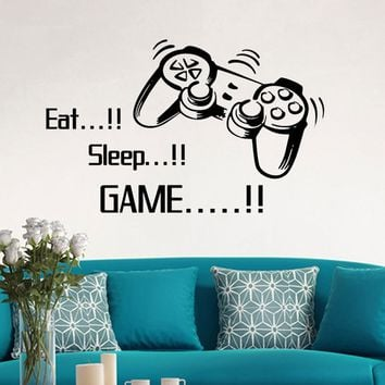 Eat Sleep Game Wall Stickers Boys Bedroom Letter DIY Kids Rooms Decoration Art