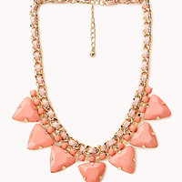 FOREVER 21 Pretty Tough Geo Necklace Peach/Gold One