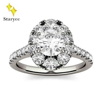 Certified 1 ct 6.5mm Round Cut Moissanite Engagement Ring Real 1 489fd0311e