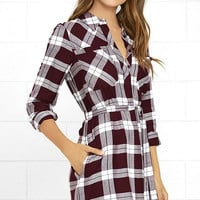 Olive & Oak Glamping Grounds Burgundy Plaid Long Sleeve Dress