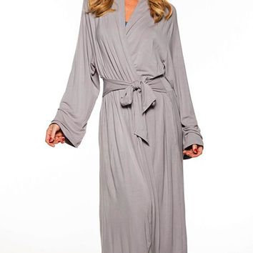 Robe - Long Bamboo Knit Wrap w/Attached Belt Tie(Small-1X)