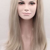 K'ryssma® Dark Ash Grey Synthetic Hair Lace Front Wigs Long Natural Straight Gray Half Hand Tied Heat Resistant Glueless Full Wig For Women 18 Inches T4503