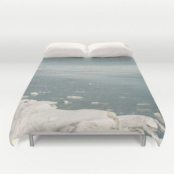 Blue Huron Duvet Cover by Faded  Photos
