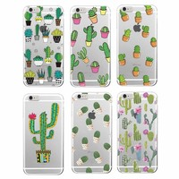 2016 Fashion Cute Cactus Vintage Floral Flower Chic Soft Phone Case Cover Coque For iPhone 7Plus 6Plus 7 6 6S 5 5S SE 5C 4 4S
