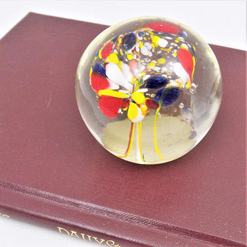 """Blown Glass Swirl Paperweight, Red Blue Yellow White 2 1/8"""" Tall, Nancy Sales Co Art Glass"""