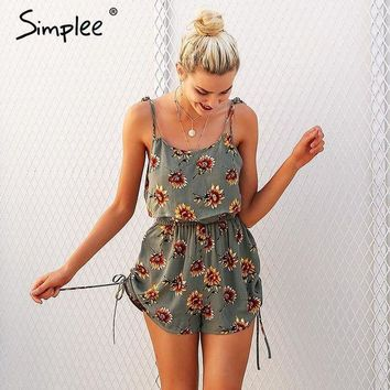 DCCKON3 Simplee Casual floral print strap ruffles playsuits Two piece rompers women High waist drawstrings 2018 summer beach jumpsuit