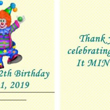 20 Circus Clown Birthday Party Mint Favors