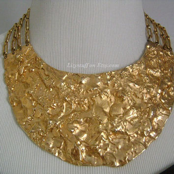 Impressive NAPIER Rich Goldtone Golden Nugget Hammered Waved Abstract Art Design 4-Strand ChainLink Couture Runway Bib Collar Necklace HUGE