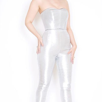Siren Capri in Stretch Silver Lurex XL