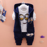 Autumn Baby Girls Boys Minion Suits Infant/Newborn Clothes Sets Kids Vest+T Shirt+Pants 3 Pcs Sets