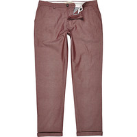 River Island MensLight red chambray skinny stretch pants