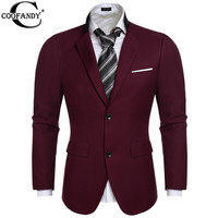 COOFANDY Slim Stylish fit Two Button Suits Blazer Coat Jackets British Style Tops outwear Wine red/Black