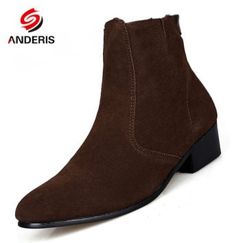 Chelsea Boot Men Suede Hombre Martin Boots Low Heel Nubuck Leather Ankle Boots Vintage Casual Short Boots Black Brown Man Shoes