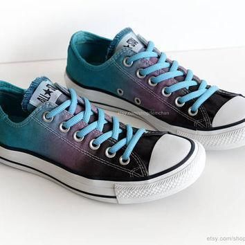 ombr dip dye converse charcoal purple turquoise low tops tie dye sneakers upcyc