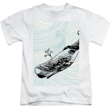 Whale On Wave Paper - Kids T-Shirt