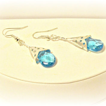 Aqua Teardrop Drop Earrings - Wedding, Summer Trends, Vintage Inspired